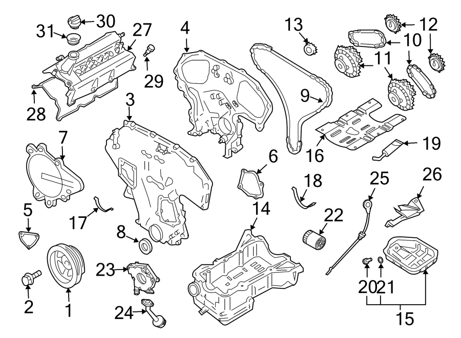 Nissan 350z Engine Timing Cover  Front  Rear